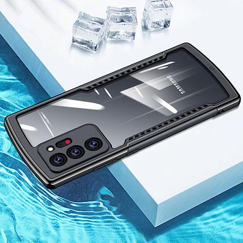 Silikon Schutzhülle Rahmen Tasche Hülle Durchsichtig Transparent Spiegel M04 für Samsung Galaxy Note 20 Ultra 5G Schwarz
