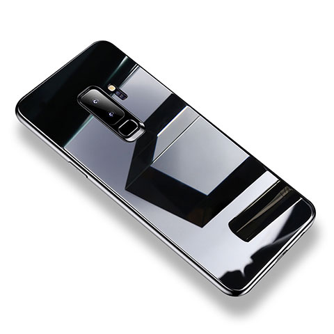 Silikon Schutzhülle Rahmen Tasche Hülle Durchsichtig Transparent Spiegel S01 für Samsung Galaxy S9 Plus Schwarz