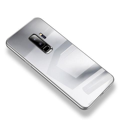 Silikon Schutzhülle Rahmen Tasche Hülle Durchsichtig Transparent Spiegel S01 für Samsung Galaxy S9 Plus Silber