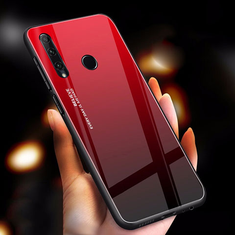 Silikon Schutzhülle Rahmen Tasche Hülle Spiegel Farbverlauf Regenbogen für Huawei Honor 20 Lite Rot