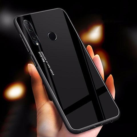Silikon Schutzhülle Rahmen Tasche Hülle Spiegel Farbverlauf Regenbogen für Huawei Honor 20 Lite Schwarz