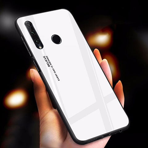 Silikon Schutzhülle Rahmen Tasche Hülle Spiegel Farbverlauf Regenbogen für Huawei Honor 20 Lite Weiß