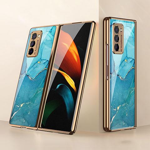 Silikon Schutzhülle Rahmen Tasche Hülle Spiegel für Samsung Galaxy Z Fold2 5G Cyan