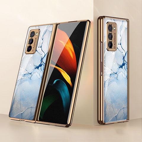 Silikon Schutzhülle Rahmen Tasche Hülle Spiegel für Samsung Galaxy Z Fold2 5G Hellblau