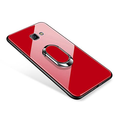Silikon Schutzhülle Rahmen Tasche Hülle Spiegel mit Fingerring Ständer für Samsung Galaxy J7 Prime Rot