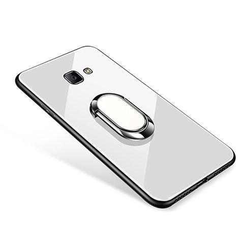 Silikon Schutzhülle Rahmen Tasche Hülle Spiegel mit Fingerring Ständer für Samsung Galaxy J7 Prime Weiß