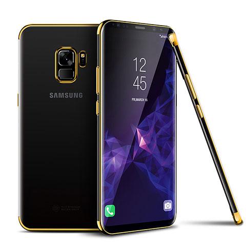 Silikon Schutzhülle Ultra Dünn Tasche Durchsichtig Transparent H01 für Samsung Galaxy S9 Gold