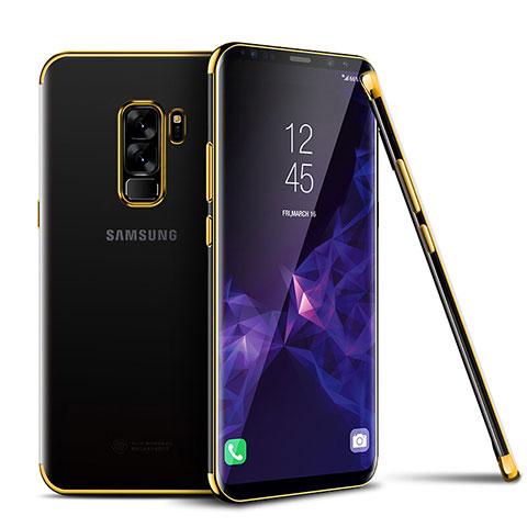 Silikon Schutzhülle Ultra Dünn Tasche Durchsichtig Transparent H01 für Samsung Galaxy S9 Plus Gold