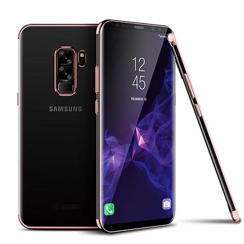 Silikon Schutzhülle Ultra Dünn Tasche Durchsichtig Transparent H01 für Samsung Galaxy S9 Plus Rosegold
