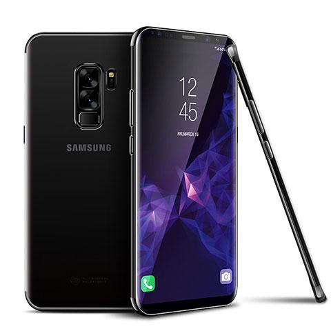 Silikon Schutzhülle Ultra Dünn Tasche Durchsichtig Transparent H01 für Samsung Galaxy S9 Plus Schwarz