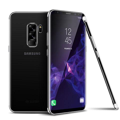 Silikon Schutzhülle Ultra Dünn Tasche Durchsichtig Transparent H01 für Samsung Galaxy S9 Plus Silber