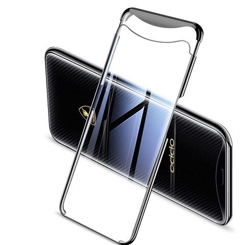 Silikon Schutzhülle Ultra Dünn Tasche Durchsichtig Transparent H04 für Oppo Find X Schwarz