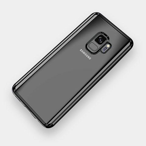 Silikon Schutzhülle Ultra Dünn Tasche Durchsichtig Transparent H04 für Samsung Galaxy S9 Schwarz