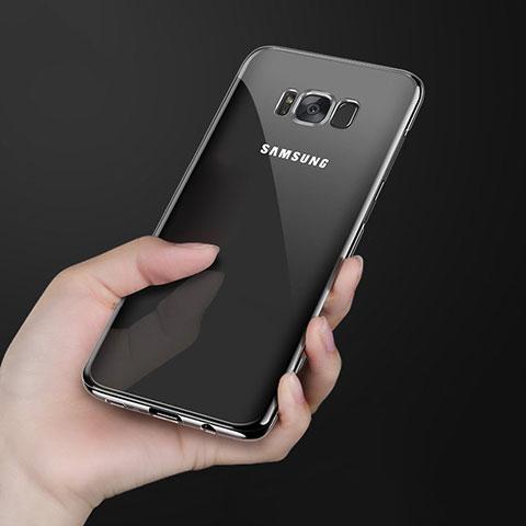 Silikon Schutzhülle Ultra Dünn Tasche Durchsichtig Transparent H09 für Samsung Galaxy S8 Plus Schwarz