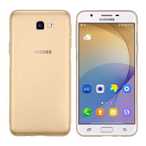 Silikon Schutzhülle Ultra Dünn Tasche Durchsichtig Transparent T02 für Samsung Galaxy J7 Prime Gold