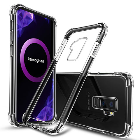 Silikon Schutzhülle Ultra Dünn Tasche Durchsichtig Transparent T03 für Samsung Galaxy S9 Plus Schwarz