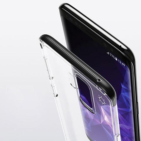 Silikon Schutzhülle Ultra Dünn Tasche Durchsichtig Transparent T11 für Samsung Galaxy S9 Plus Schwarz