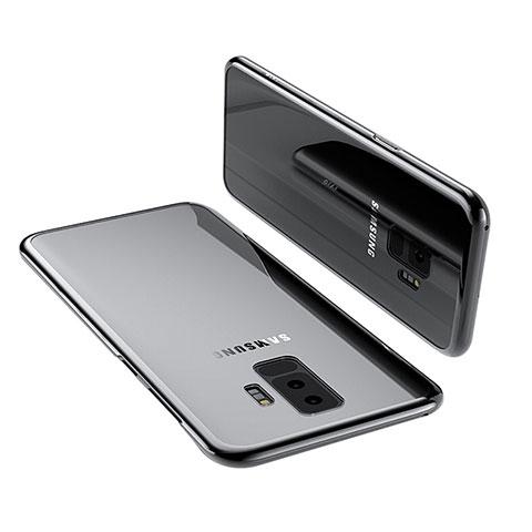 Silikon Schutzhülle Ultra Dünn Tasche Durchsichtig Transparent T12 für Samsung Galaxy S9 Plus Schwarz