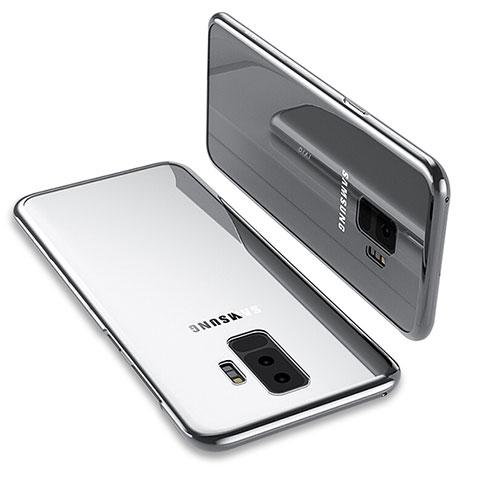 Silikon Schutzhülle Ultra Dünn Tasche Durchsichtig Transparent T12 für Samsung Galaxy S9 Plus Silber