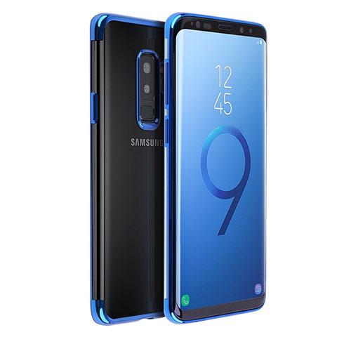 Silikon Schutzhülle Ultra Dünn Tasche Durchsichtig Transparent T18 für Samsung Galaxy S9 Plus Blau