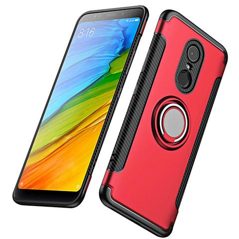 Silikon Schutzhülle und Kunststoff Tasche mit Fingerring Ständer für Xiaomi Redmi 5 Plus Rot
