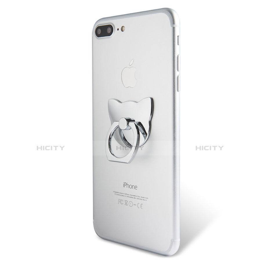 Fingerring Ständer Smartphone Halter Halterung Universal R04 Silber groß