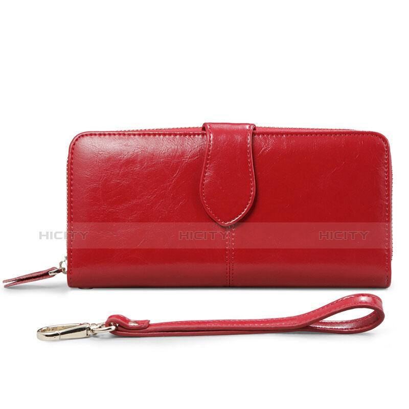 Handtasche Clutch Handbag Hülle Leder Universal Rot Plus