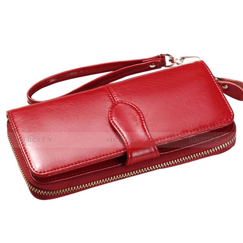 Handtasche Clutch Handbag Hülle Leder Universal Rot groß