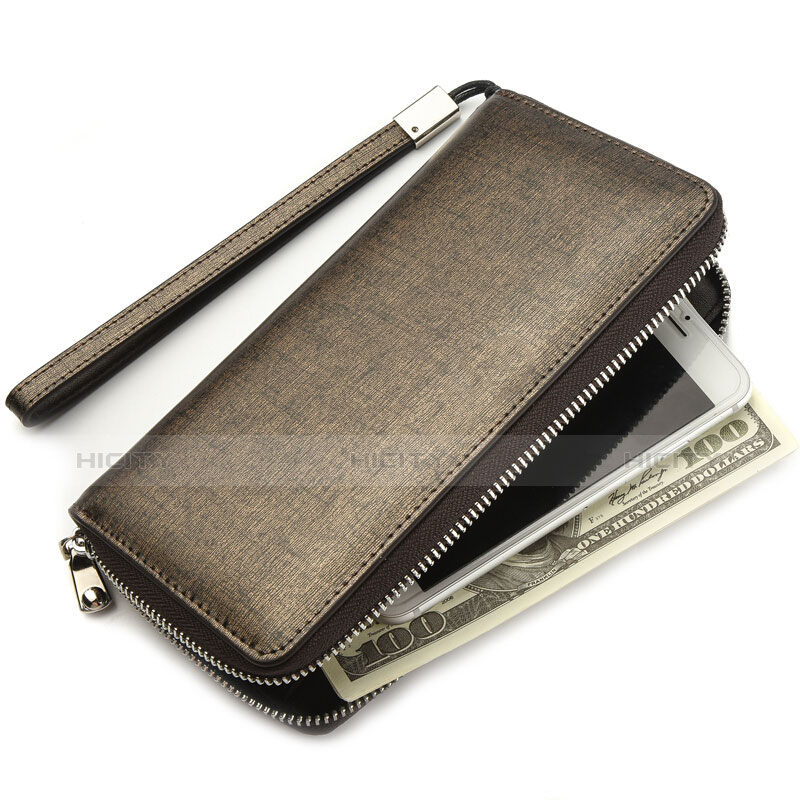 Handtasche Clutch Handbag Leder Silkworm Universal H04 Gold groß
