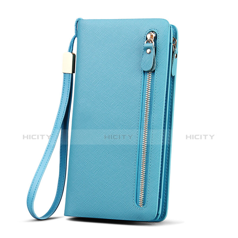 Handtasche Clutch Handbag Leder Silkworm Universal Hellblau groß