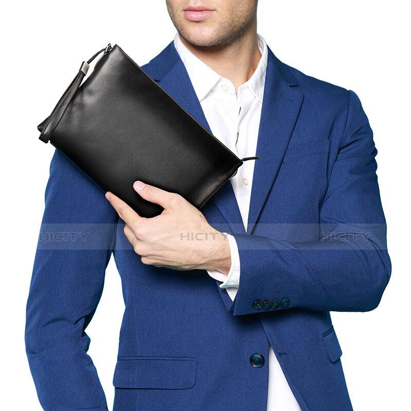 Handtasche Clutch Handbag Schutzhülle Leder Universal H01 Schwarz groß