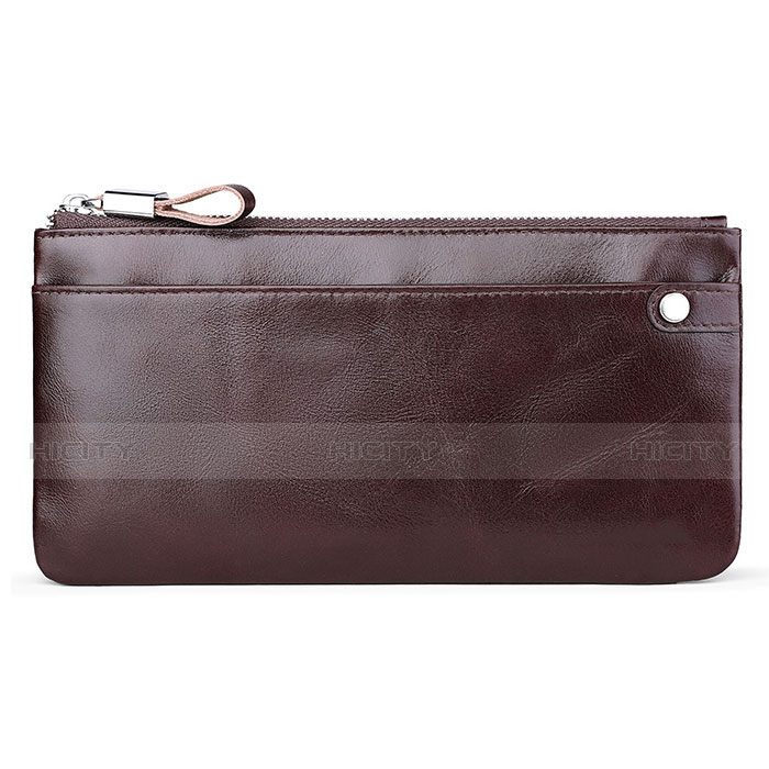 Handtasche Clutch Handbag Schutzhülle Leder Universal H08 Braun Plus
