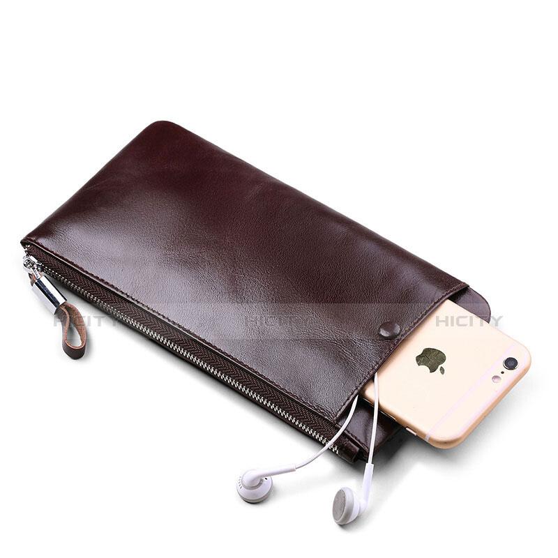 Handtasche Clutch Handbag Schutzhülle Leder Universal H08 Braun groß