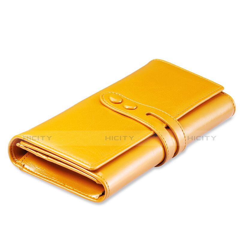 Handtasche Clutch Handbag Schutzhülle Leder Universal H14 Gold groß