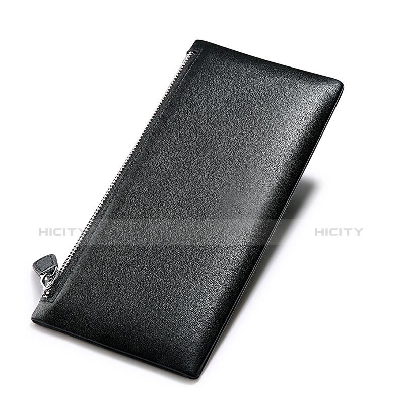 Handtasche Clutch Handbag Schutzhülle Leder Universal H17 Schwarz groß
