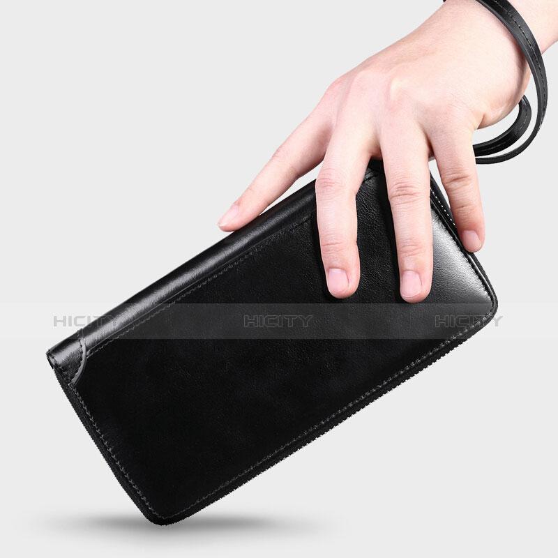 Handtasche Clutch Handbag Schutzhülle Leder Universal H32 Schwarz groß