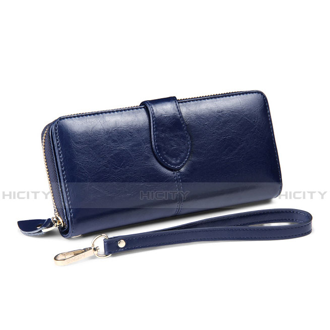 Handtasche Clutch Handbag Schutzhülle Leder Universal H33 Blau Plus