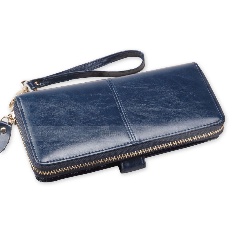 Handtasche Clutch Handbag Schutzhülle Leder Universal H33 Blau groß