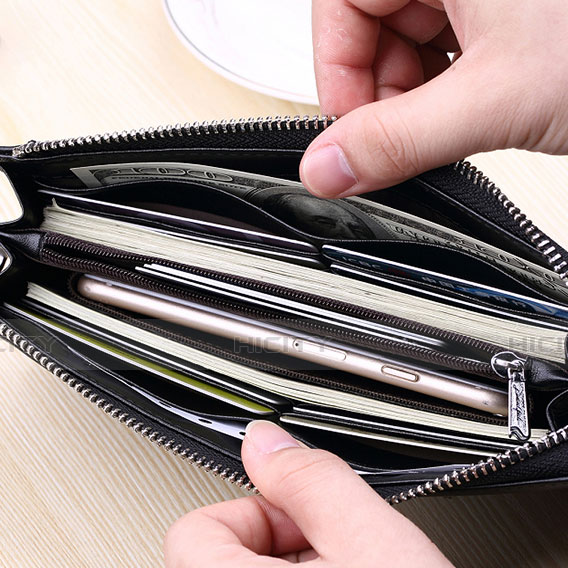 Handtasche Clutch Handbag Schutzhülle Leder Universal H34 Schwarz groß