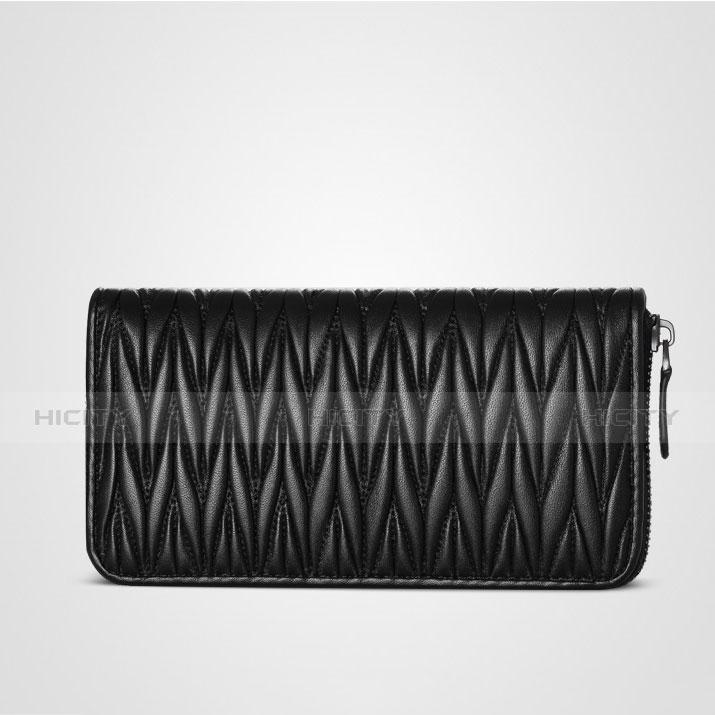Handtasche Clutch Handbag Schutzhülle Leder Universal H35 Schwarz groß