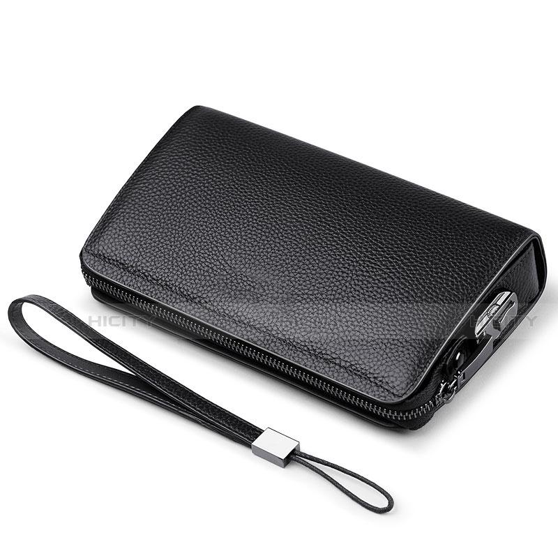 Handtasche Clutch Handbag Schutzhülle Leder Universal K19 Schwarz Plus