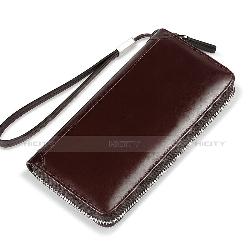 Handtasche Clutch Handbag Tasche Leder Universal H11 Braun groß