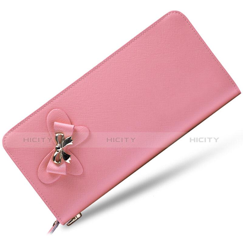 Handtasche Clutch Handbag Tasche Leder Universal Rosa Plus