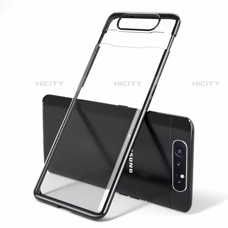 Handyhülle Hülle Crystal Tasche Schutzhülle H01 für Samsung Galaxy A80 Schwarz Plus