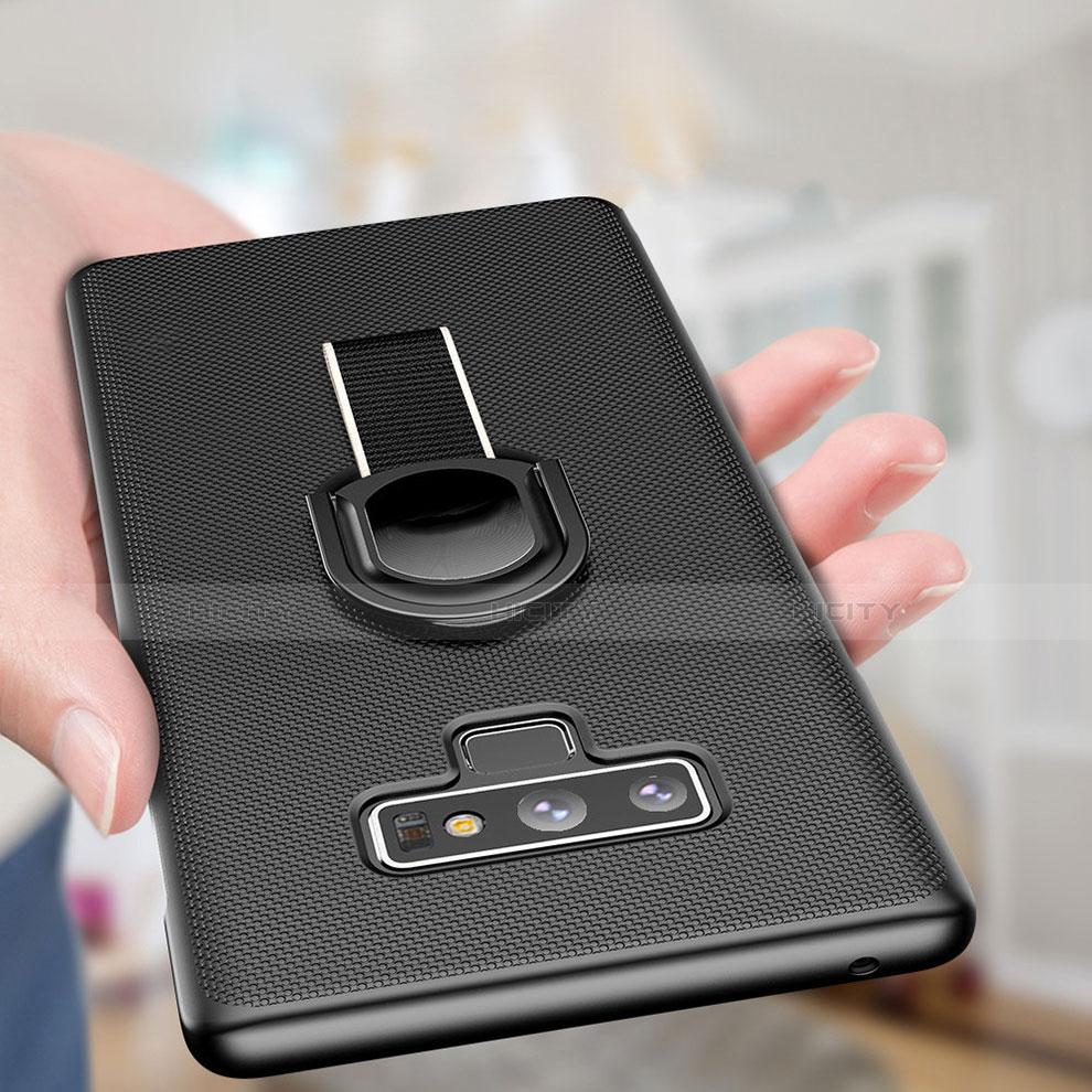 Handyhülle Hülle Kunststoff Schutzhülle Matt mit Magnetisch Fingerring Ständer für Samsung Galaxy Note 9 Schwarz Plus