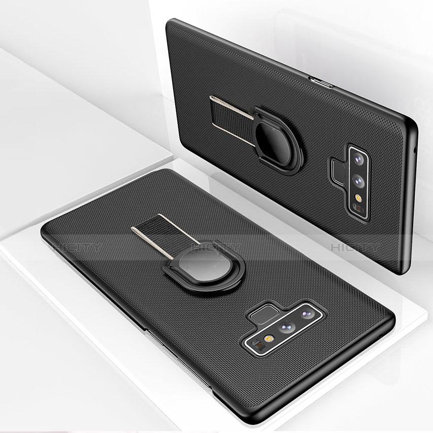 Handyhülle Hülle Kunststoff Schutzhülle Matt mit Magnetisch Fingerring Ständer für Samsung Galaxy Note 9 Schwarz groß