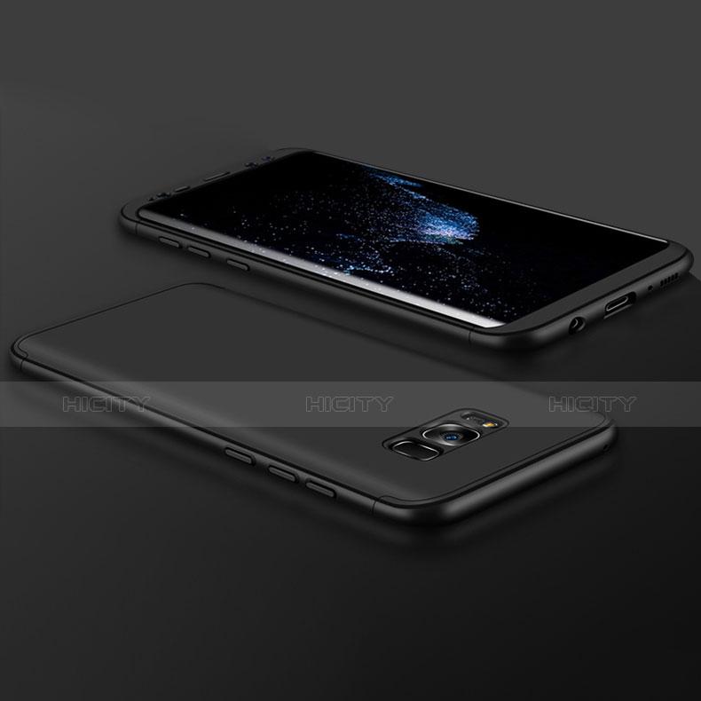 Handyhülle Hülle Kunststoff Schutzhülle Matt Vorder und Rückseite 360 Grad M02 für Samsung Galaxy S8 Plus Schwarz groß