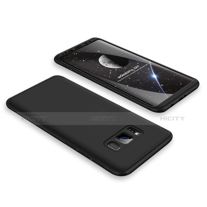 Handyhülle Hülle Kunststoff Schutzhülle Matt Vorder und Rückseite 360 Grad M02 für Samsung Galaxy S8 Schwarz groß