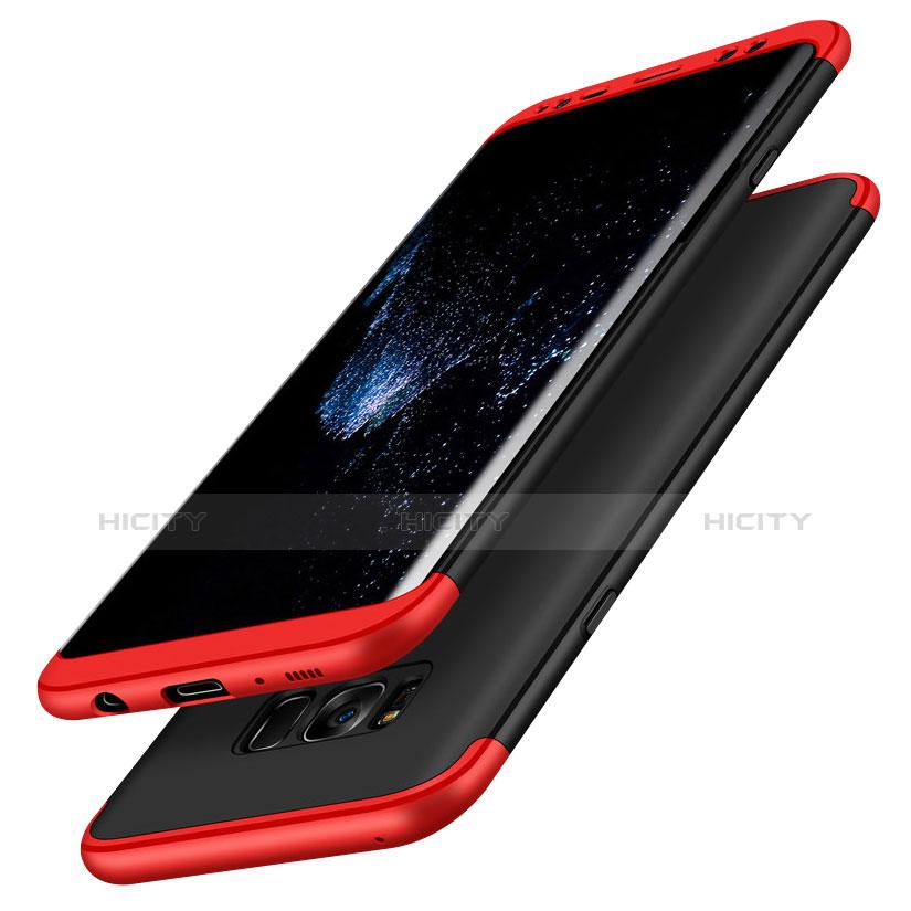Handyhülle Hülle Kunststoff Schutzhülle Matt Vorder und Rückseite 360 Grad M03 für Samsung Galaxy S8 Rot und Schwarz Plus