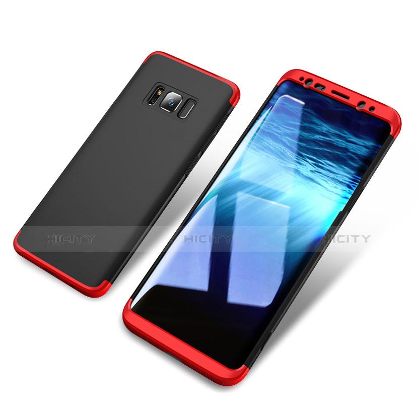Handyhülle Hülle Kunststoff Schutzhülle Matt Vorder und Rückseite 360 Grad M03 für Samsung Galaxy S8 Rot und Schwarz groß
